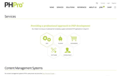 Screenshot of Services Page phpro.be - Content Management Systems | PHPro - captured July 15, 2018
