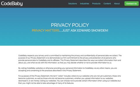 Screenshot of Privacy Page codebaby.com - Privacy Policy - CodeBaby - captured June 17, 2015