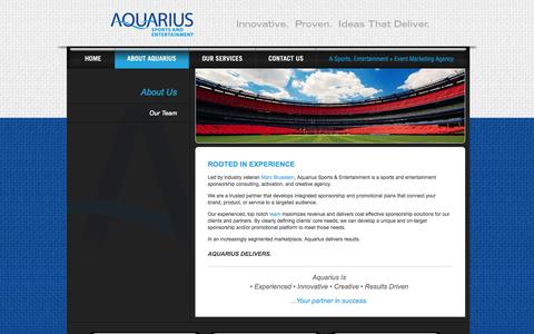 Screenshot of About Page aquarius-se.com - Aquarius Sports and Entertainment | Sports & Entertainment Marketing | Sponsorship Consulting and Activation Agency - captured Oct. 4, 2014