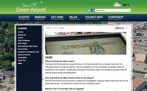Screenshot of FAQ Page pvdairport.com - Green Airport  |  FAQs  |  PVD  |  Rhode Island - captured Oct. 26, 2014