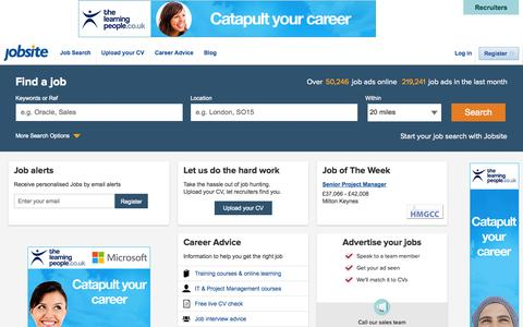 Screenshot of Home Page jobsite.co.uk - Find 1000s of UK Jobs. Start your job search with Jobsite UK - captured Sept. 18, 2014
