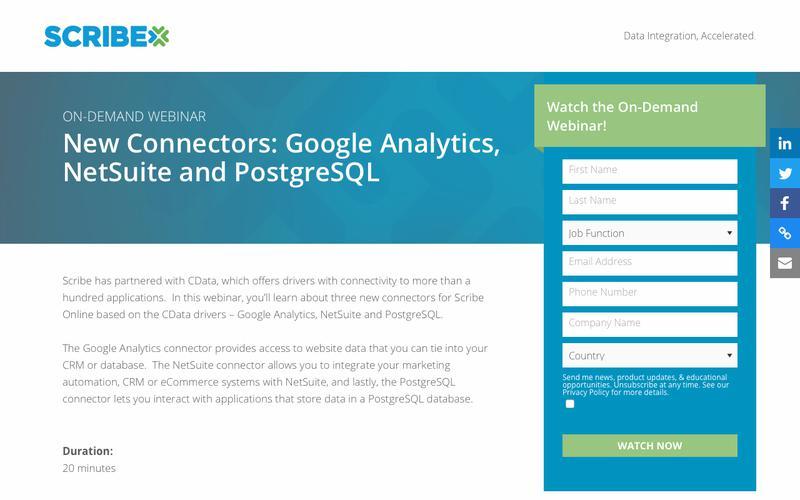 Registration   On-Demand Webinar: New Connectors - Google Analytics, NetSuite and PostgreSQL   Scribe Software