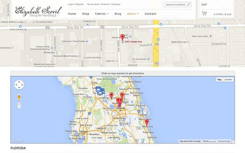 Screenshot of Locations Page elizabethscovil.com - Locations - Elizabeth Scovil - captured Oct. 1, 2014