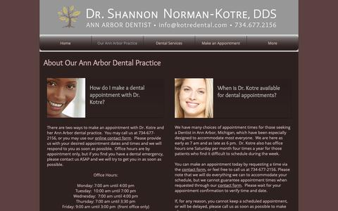 Screenshot of About Page kotreannarbordentist.com - Dr. Shannon Norman-Kotre, Ann Arbor Dentist -- About Our Practice - captured Oct. 19, 2018