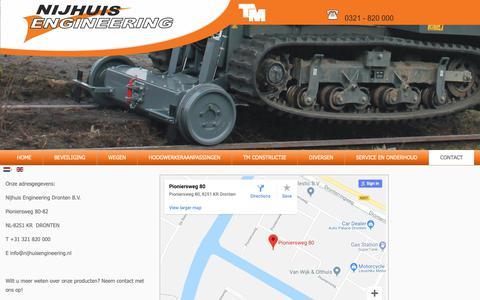 Screenshot of Contact Page nijhuisengineering.nl - Contact - captured Nov. 7, 2018