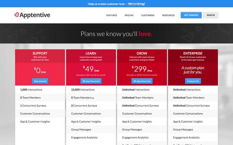 Screenshot of Pricing Page apptentive.com - Plans we know you'll love.    Apptentive - captured Oct. 31, 2014