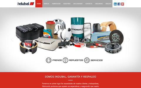 Screenshot of Home Page indubal.com - Indubal - Repuestos para frenos- Servicio de frenos - captured Sept. 13, 2018