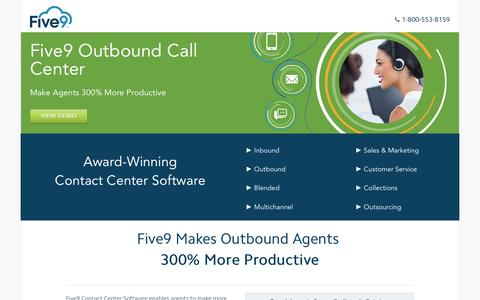 Screenshot of Landing Page five9.com - Contact Center Software | Five9 - captured Aug. 25, 2016