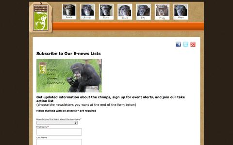 Screenshot of Signup Page chimpsanctuarynw.org - Chimpanzee Sanctuary Northwest - captured Nov. 5, 2016