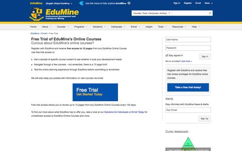 Screenshot of Trial Page edumine.com - Free Trial Review of Online Courses - EduMine - captured Sept. 23, 2014