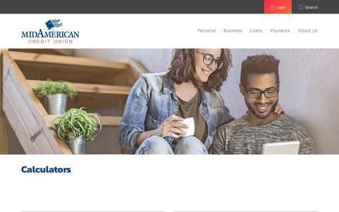 Screenshot of Menu Page midamerican.coop - Calculators ›  Mid American Credit Union - captured Oct. 18, 2017