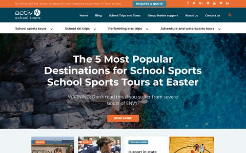 Screenshot of Blog activ4.com - The Activ4 blog about school sports, performing arts, ski and adventure. - captured July 31, 2018