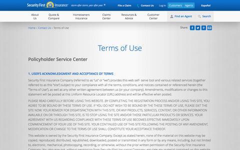 Screenshot of Terms Page securityfirstflorida.com - Terms of Use - captured Nov. 18, 2016