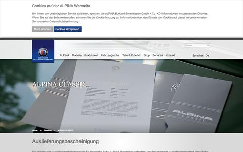 Screenshot of Services Page alpina-automobiles.com - ALPINA CLASSIC: ALPINA Automobiles - captured June 29, 2017