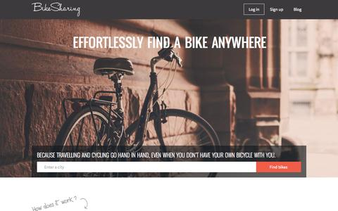 Screenshot of Home Page bike-sharing.org - The free global bike sharing. Borrow a bike - BikeSharing - captured Nov. 3, 2015