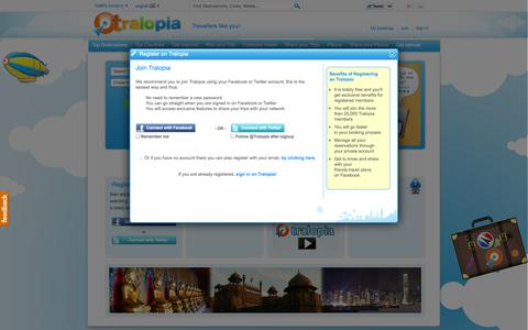 Screenshot of Signup Page tralopia.com - Hotel Deals and Hotel Prices on Tralopia.com - captured Nov. 5, 2014