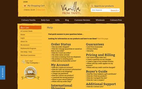 Screenshot of FAQ Page vanillafromtahiti.com - Help - captured Sept. 30, 2014