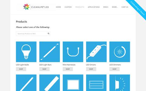 Screenshot of Products Page cleanlifeled.com - Products - CLEANLIFE LED LIGHTING - captured July 8, 2017