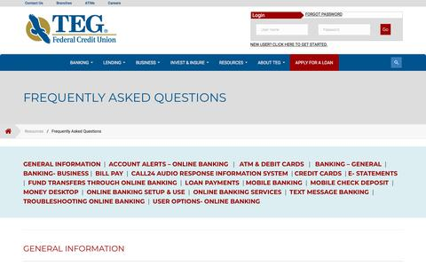 Screenshot of FAQ Page tegfcu.com - Frequently Asked Questions – TEG Federal Credit Union - captured June 29, 2018