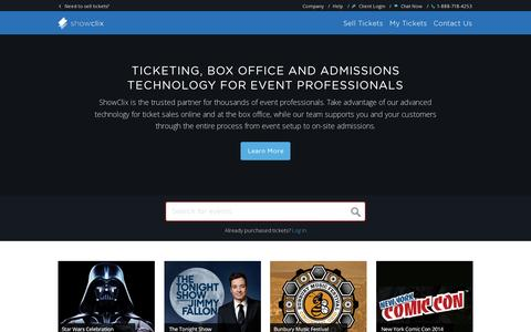 Screenshot of Home Page showclix.com - Online Ticket Sales, Box Office and Admissions Technology | ShowClix - captured July 11, 2014