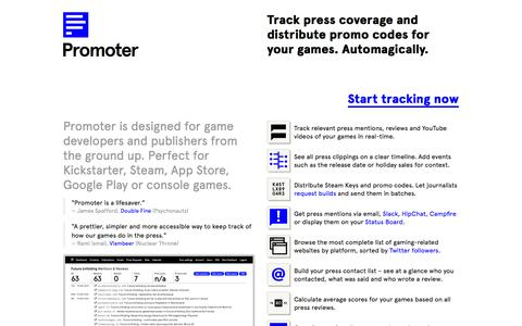 Screenshot of Home Page promoterapp.com - Promoter – Track press mentions and distribute promo codes - captured Feb. 21, 2016