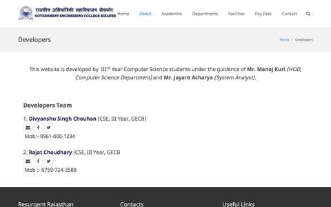 Screenshot of Developers Page ecb.ac.in - Developers - Govt Engineering College Bikaner - captured Feb. 1, 2016