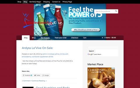 Screenshot of Blog ardyssleviveonline.com - Blog  |  Ardyss Le'vive , Ardyss Le Vive Plus and Green All Online - captured Oct. 4, 2014