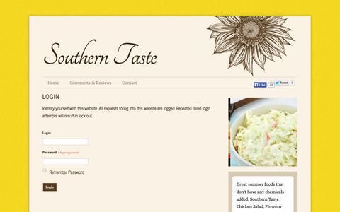 Screenshot of Login Page southerntaste.net - Southern Taste - Login - captured Oct. 7, 2014
