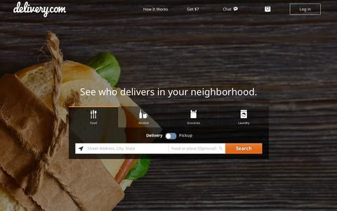 Screenshot of Home Page delivery.com - delivery.com | Food, Liquor, Laundry, Grocery Delivery | Order Online - captured Oct. 1, 2015