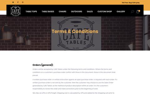 Screenshot of Terms Page cafe-tables.com - Terms & Conditions - Cafe Tables - Spartanburg SC - captured July 15, 2018