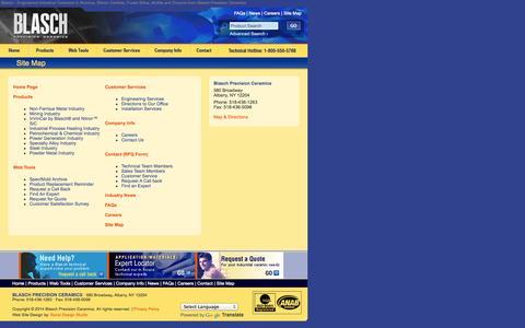 Screenshot of Site Map Page blaschceramics.com - Blasch Precision Ceramics: Site Map - Blasch - Engineered Industrial Ceramics in Alumina, Silicon Carbide, Fused Silica, Mullite and Zirconia - captured Oct. 5, 2014