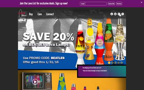 Screenshot of Home Page lavalamp.com - Lava Lamp - The official site of Lava Lamp. Home - captured Jan. 26, 2016