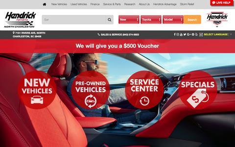 Screenshot of Home Page hendricktoyotanorthcharleston.com - Toyota New & Used Car Dealer - Serving Charleston & Summerville, SC | Hendrick Toyota North Charleston - captured Sept. 27, 2018