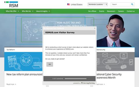Screenshot of Home Page brkllp.com - RSM - audit, tax, consulting services for the middle market - captured Oct. 10, 2017