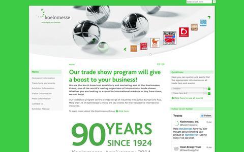 Screenshot of Home Page koelnmessenafta.com - Koelnmesse Latest News - captured Oct. 6, 2014