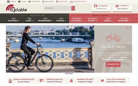 Screenshot of Home Page cyclable.com - Vélo électrique, vélo de ville, pliant, randonnée chez Cyclable - captured Sept. 13, 2016