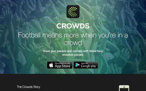 Screenshot of Home Page wearecrowds.com - We Are Crowds -Football Means More When You're in a Crowd - captured Oct. 1, 2014