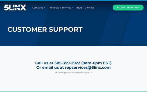 Screenshot of Support Page 5linx.com - Customer Support - 5LINX - captured Sept. 26, 2018