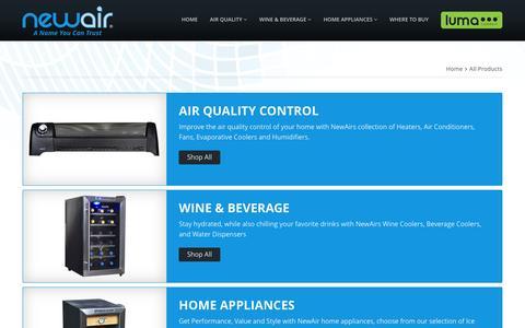 Screenshot of Products Page newair.com - www.NewAir.com - captured Nov. 25, 2015