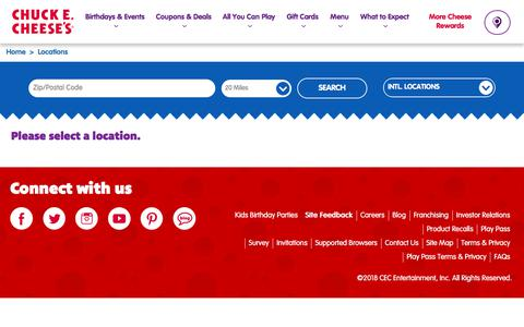 Screenshot of Locations Page chuckecheese.com - Find a Party & Pizza Location Near You   Chuck E. Cheese's - captured July 13, 2018