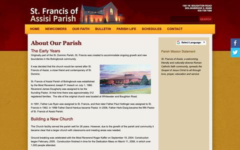 Screenshot of About Page stfrancisbb.org - St Francis of Assisi: About Our Parish - captured Oct. 18, 2018