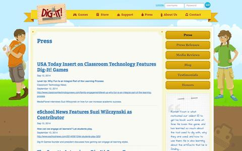 Screenshot of Press Page dig-itgames.com - Dig It Games : Press - captured Sept. 30, 2014