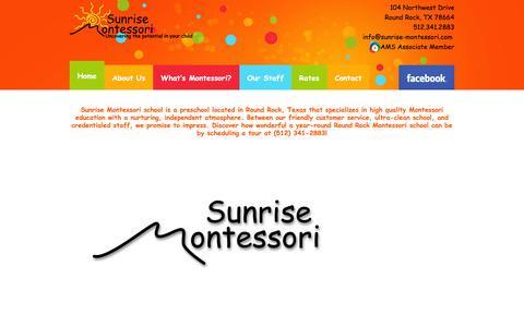 Screenshot of Home Page sunrise-montessori.com - Sunrise Montessori Preschool of Round Rock - Sunrise Montessori Preschool - captured Jan. 24, 2017