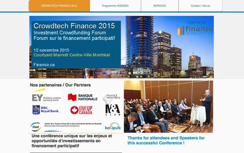 Screenshot of Home Page finanso.ca - Crowdfunding Business Event - captured Feb. 9, 2016