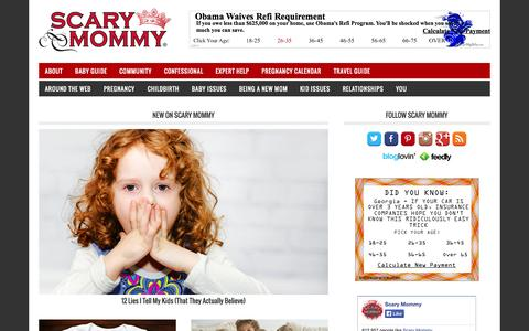 Screenshot of Home Page scarymommy.com - Scary Mommy - A parenting community for imperfect parents. - captured Sept. 17, 2014