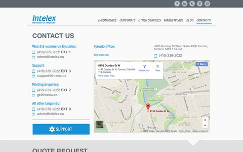 Screenshot of Contact Page intelex.ca - Contact Us - captured Jan. 9, 2016