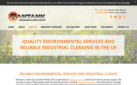 Screenshot of Services Page mantank.co.uk - Environmental Services | North East & North West | Mantank - captured Oct. 5, 2017