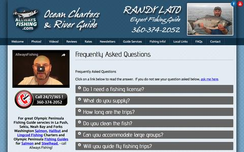 Screenshot of FAQ Page allwaysfishing.com - Frequently Asked Questions - Olympic Peninsula Fishing Guide - captured April 13, 2017