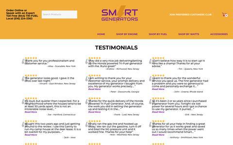 Screenshot of Testimonials Page nysmartgenerators.com - Testimonials - SMART GENERATORS - captured Oct. 18, 2018