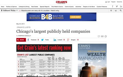 Chicago's largest publicly held companies	                                             - Focus -  Crain's Chicago Business